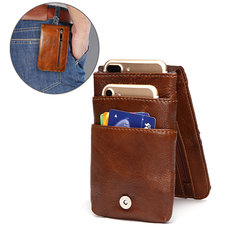 5.5inches Men Buiness Genuine Leather Waist Bag Mobile Phone Case
