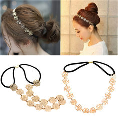 Metal Hair Band Rose Flower Elastic Hollow Headband Lady Vintage Accessories
