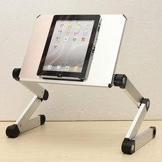 Folding Adjustable Laptop Table Stand Desk USB Cooling Pad