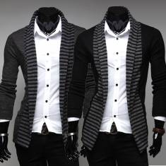 Mens Fashion Stripe Color Knitted Long Sleeve Cardigan Sweaters