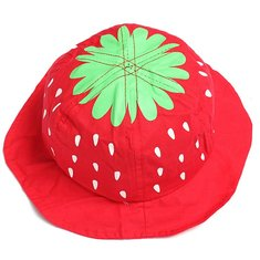 Baby Infant Girl Strawberry Cotton Bucket Hat Sun Visor Cap