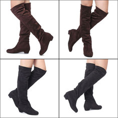 Women Flat Heel Over The Knee Suede Slouch Shoes Stretchy Winter Boots