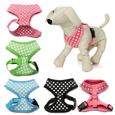Pet Dog Cat Polka Dots Dotted Adjustable Soft Mesh Harness Net Leash