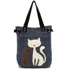 Women Canvas Handbag Cute Cat Shoulder Bag Totes