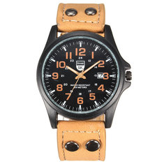 Men PU Leather Band Analog Military Quartz Wrist Watch
