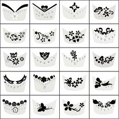 15pcs 3D Rhinestone Flower Butterfly Decorations Nail Art Stickers