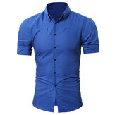 Mens Rhombus Grid Button Down Short Sleeve Slim Fit Gingham Dress Shirt