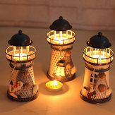 Honana DX-A11 Handmade Mediterranean Style Lighthouse Wrought Iron Candle Stick Candle Holder Home Decor