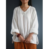 Vintage Women V-Neck Solid Color Long Sleeve Split Hem Blouse