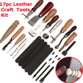 17Pcs DIY Leather Craft Tools Kit Punch Stitching Carve Sewing Leather Cutter
