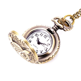 XHB02 Fashion Bronze Pocket Watch Owl Pattern Necklace Vintage Chain Quartz Watch