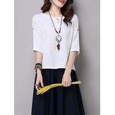 Original Pure Color Button 3/4 Sleeve Split Hem T-shirt For Women