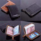 Oil Leather Zipper Short Card Holder Genuine Leather Short Purse Wallet Coin Bags