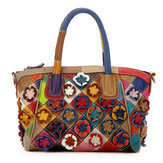 Original Women Patchwork Flower Solid Cowhide Handbag