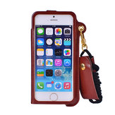 PU Leather Shockproof Back Case Cover With Card Slot Lanyard Strap For iPhone 5 5S SE 4 Inch