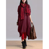 Retro Women Long Sleeve Pure Color Irregular Baggy Dress with Pockets