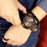 YAZOLE 322 Men Luminous Pointer PU Leather Band Analog Quartz Watch