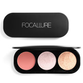 FOCALLURE 3 Colors Bronzers Blush Highlighter Palette