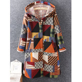 Original Casual Women Long Sleeve Geometric Printed Winter Hooded Coat