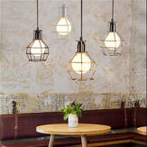 Original E27 Industrial Style Metal Cage Wire Frame Pendant Light Indoor Chandeliers for Home Bar Club