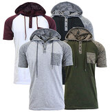 Original Summer Men's Hit Color Hooded T Shirt Casual Short Sleeved Tops Tees