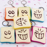 Squishy Slice Toast Joy Happy Faces Mobile Phone Bag Strap Pendant