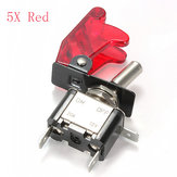 Red Car Cover LED SPST Toggle Rocker Switch Control 12V 20A On Off