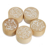 Wooden Rubber Stamps Round Handwriting Wishes DIY Tool