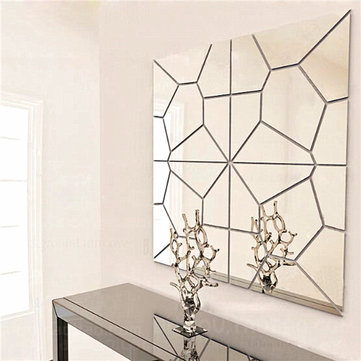 Geometric Wall Mirror 7pcs 2 colors geometry mirror wall sticker moire pattern mural