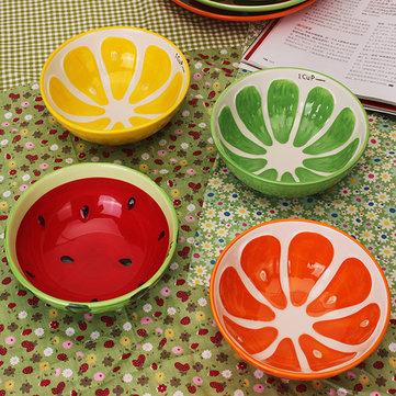 손으로 만든 세라믹 그릇 손으로 그린 과일 수박 쌀 그릇 수프 세라믹 그릇