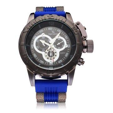 V6 V0205 นาฬิกาข้อมือคริสตัลแบบ Super Speed สีดำใหญ่ 3 สายนาฬิกาควอตซ์