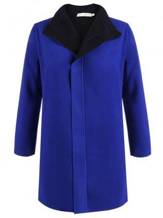 Women Blue Lapel Coat Turn Down Collar Loose Woolen Outwear