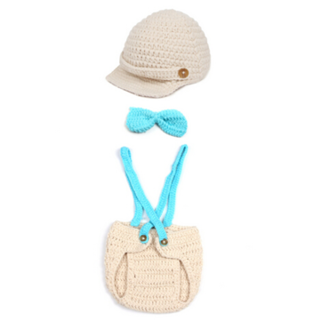 Baby Infant Crochet Romper Hat Set Photography Prop Clothes