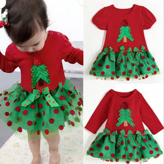 Children Toddler Girl Christmas Tress Tutu Dress Birthday T-Shirt
