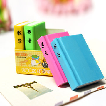 4pcs Stationery Colorful Book Rubber Erasers