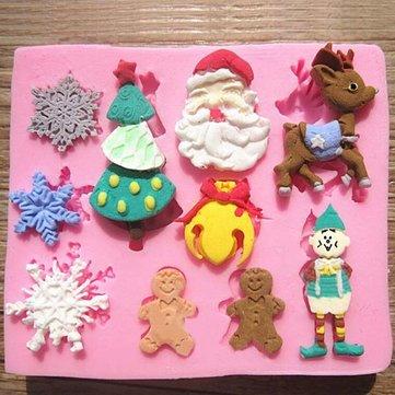 산타 클로스 크리스마스 트리 눈송이 초콜릿 케이크 곰팡이