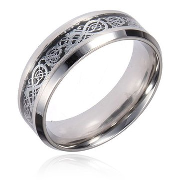 Men Sliver Tungsten Drago Scroll Inlay Banda Finger Ring