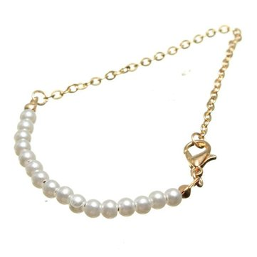 Simple Pearl Gold Chain Strand Bracelet Bangle For Women