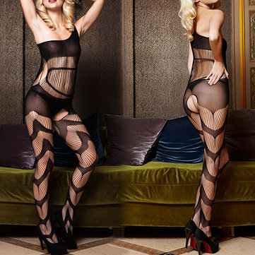 Collant Sexy Crotchless One Épaule évider Fish Net Temptation Bodystocking