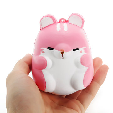 Squishy Pink Hamster 10cm Slow Rising Cute Animals Collection Cadeau Decor Soft Toy