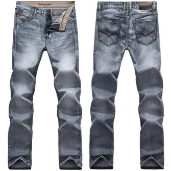 Mens Retro Slim Fit Denim Pants Straight Vintage Skinny Jeans