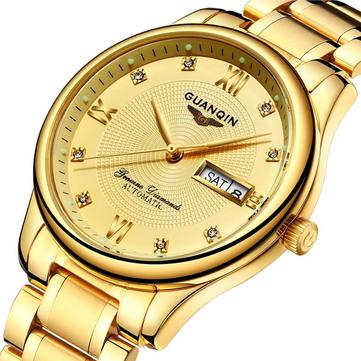 GUANQIN GJ16050 Luxury Men Mechanical Watch Gold Fine Steel Strap Automatic Wrist Watch