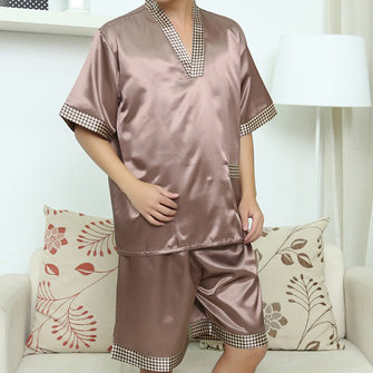Casual Home Soft Bath Bathrobe Steam Sauna Suits Printing Sleepwear Sets for Men