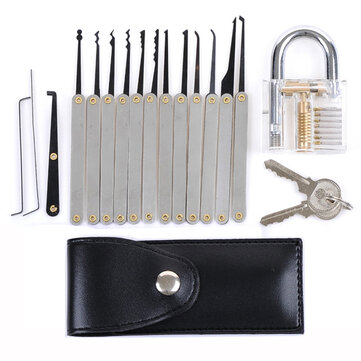 Transparent Practice Padlocks with 12pcs Unlocking Lock Pick Set Key Extractor Tool Lock Pick Tools