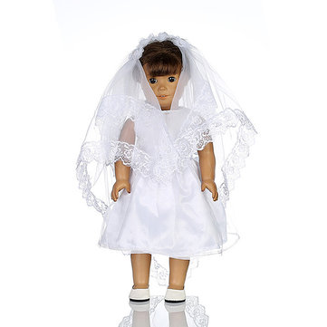 White Wedding Dress Veil Doll Clothes For 18inch American Girl