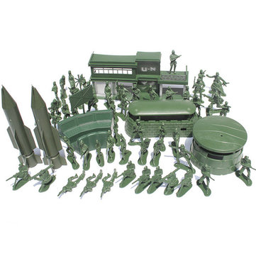 56 pezzi Military Missile Base Model Playset Toy Soldier Green 5cm Figure Army Men