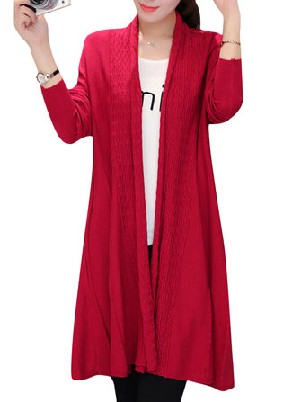 Women Solid Long Sleeve Knitted Loose Long Sweater Coat