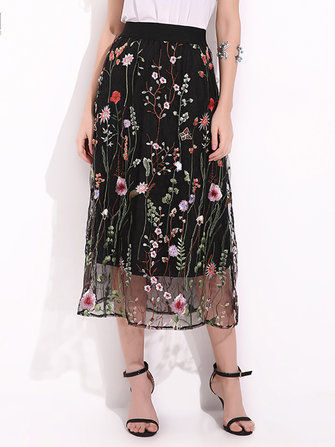 Bohemian Women Black Elastic Waist Floral Embroidered Mesh A-Line Midi Skirts