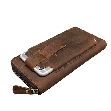 Mannen Multi-fuction Vintage Originele Leather Wallet Telefoon Case Hoesje Card Holder Coin Purse