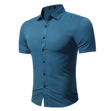 Plus Size Fashion Casual effen kleur eenvoudige stijl korte mouw Dress Shirts voor mannen